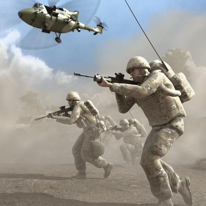 """""""يعمل النظام المبتكر، الذي يلتقط ويبث مواقع الجنود والأصول بدقة في الميدان، على إسقاط تغذية البيانات إلى شاشة الرؤية للقوات المتدربة."""