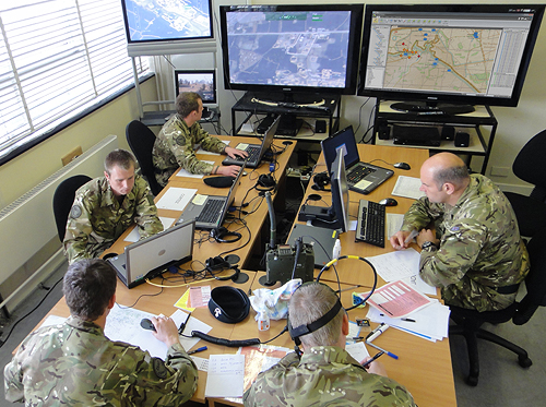 """Whether viewing """"live"""" video feeds from a nearby forward operating base or reconnaissance UAV circling overhead or communicating with a patrol commander out on the ground, the system replicates the hi-tech surveillance equipment found in and around British bases overseas."""