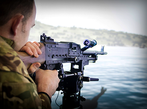 Developed for use in trials to investigate novel training methods for Royal Navy and Royal Fleet Auxiliary personnel, NSC's ship-mounted general-purpose machine gun (GPMG) simulator puts users' fingers on the trigger of a realistic weapon and mount.