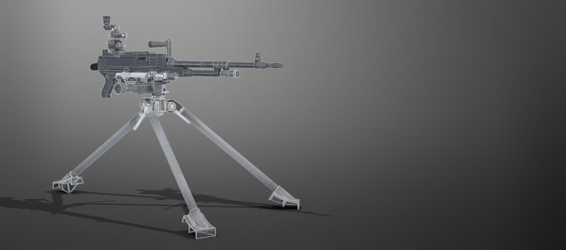 Gun on stand in wireframe