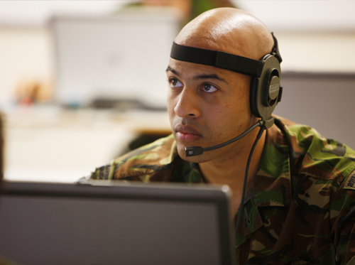 Students are able to communicate across the training network using headsets